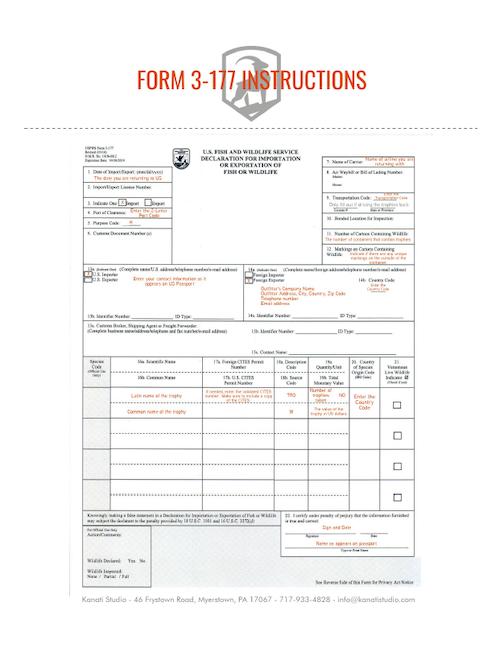 Bird Import - USFWS Form 3-177 SAMPLE, Kanati Waterfowl Taxidermy