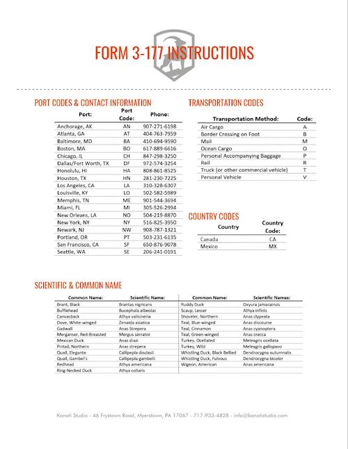Bird Importing, Form 3-177 Instructions, Kanati Waterfowl Taxidermy