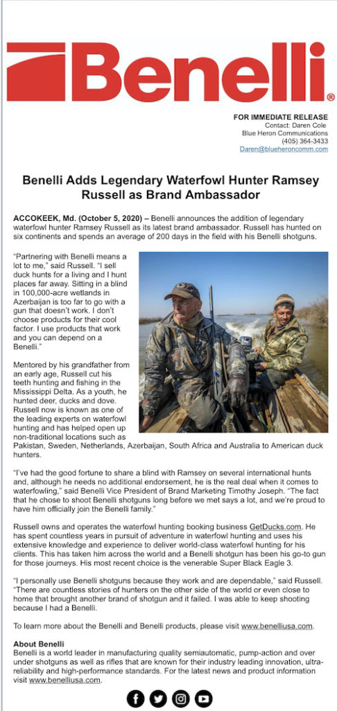 Ramsey Russell Benelli Brand Ambassador